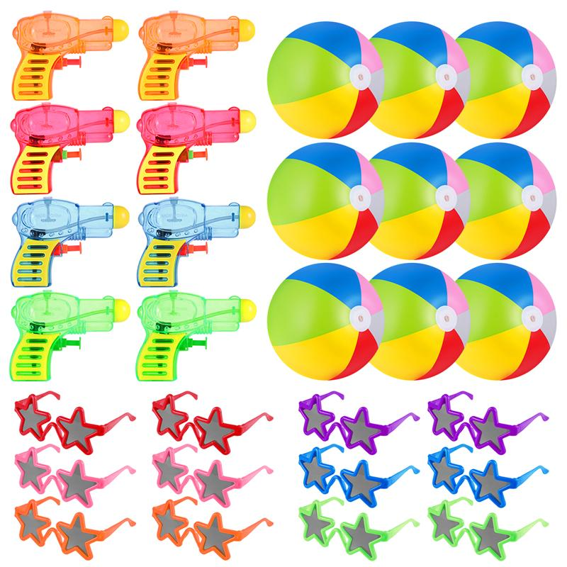Beach Toy Mega Assortment Bulk Pack Of Kids Toys Includes - 12 Kids Sunglasses 10 Inflatable Beach Balls And 12 Water Gun Squirt