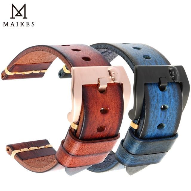 MAIKES skórzany pasek do zegarków Vintage włoski pasek ze skóry bydlęcej 20mm 22mm 24mm do paska zegarka Panerai Citizen SEIKO