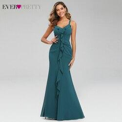 Сексуальные вечерние платья с оборками Ever Pretty EP07359TE Русалка Ruched v-образным вырезом Спагетти ремни вечерние платья с открытой спиной Vestido Longo