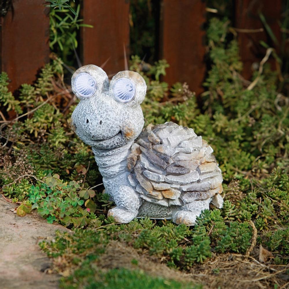 Cute Turtel Resin Figurine Modern Outdoor Garden Sculpture Fences Yard Solar Light Pathway Walkway Statues Garden Decoration