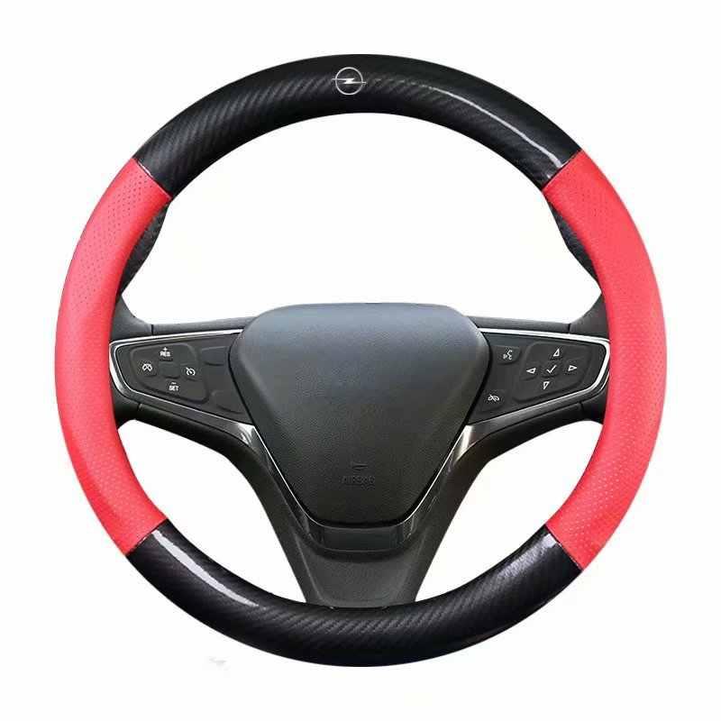 "Housse de volant de voiture en cuir 38cm 15 ""pour Opel Corsa D Astra K J caravane Vectra Meriva Zafira Antara Insignia Signum Combo"