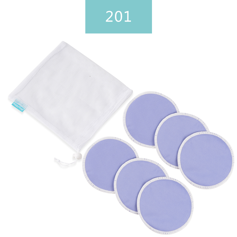 HappyFlute 6pcs/Set Solid Organic Reusable Breast Pads Washable Super Absorbency Reusable Bamboo Nursing Pads With Laundry Bag