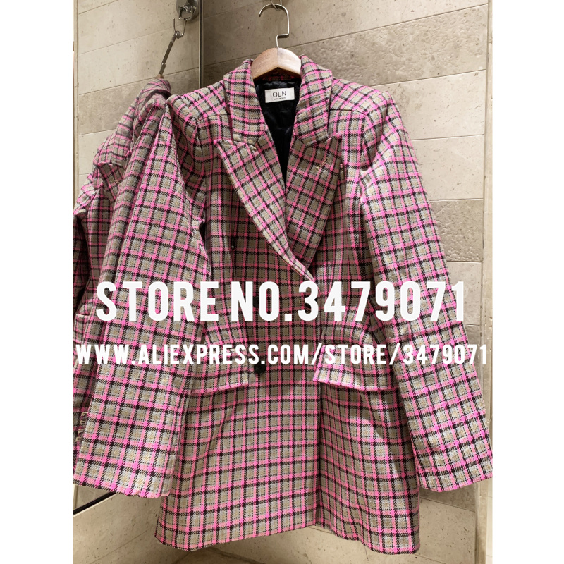 Pink Plaid Hourglass Waist Coat 2019 High Quality Women's Street Fashion Shrug Woolen Suit Jacket