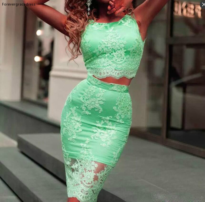 2019 Green Sexy Two Pieces Cocktail Dress Lace See Through Formal Holidays Wear Graduation Party Pageant Gown Custom Made