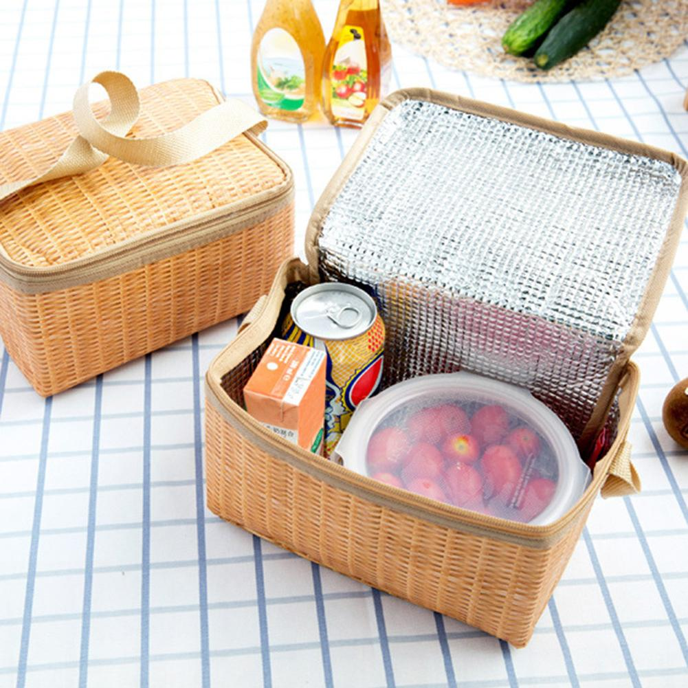 New Imitation Rattan Plaited Portable Insulated Thermal Cooler <font><b>Lunch</b></font> <font><b>Box</b></font> Canvas <font><b>Lunch</b></font> Bag Food Picnic Bags For Adult Children image
