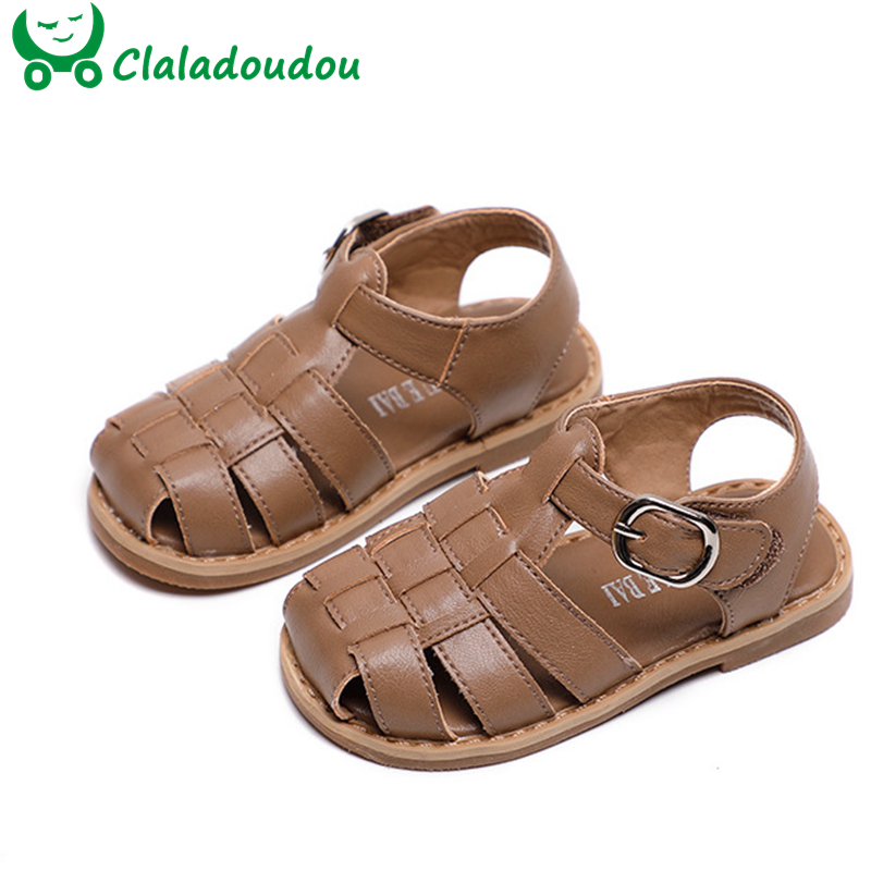 12-16cm Toddler Sandals Boys Girls Unisex Summer First Walkers Black Beige Closed Toe Cross Strap Kids Beach Sandals Anti-slip