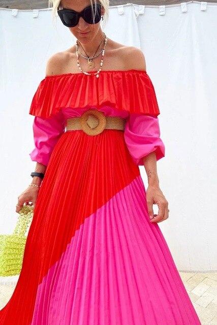 Women Slash Neck Off The Shoulder Dresses Women Plus Size Summer red Ruffles Bandage Patchwork Pleated belt big Long Dress 1