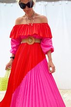 Women Slash Neck Off The Shoulder Dresses Women Plus Size Summer red Ruffles Bandage Patchwork Pleated belt big Long Dress
