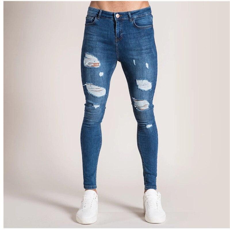 New Streetwear Mens Ripped Biker Jeans Men's Fashion Motorcycle Slim Fit Black Gray Blue Moto Denim Pants Skinny SizeS-5XL