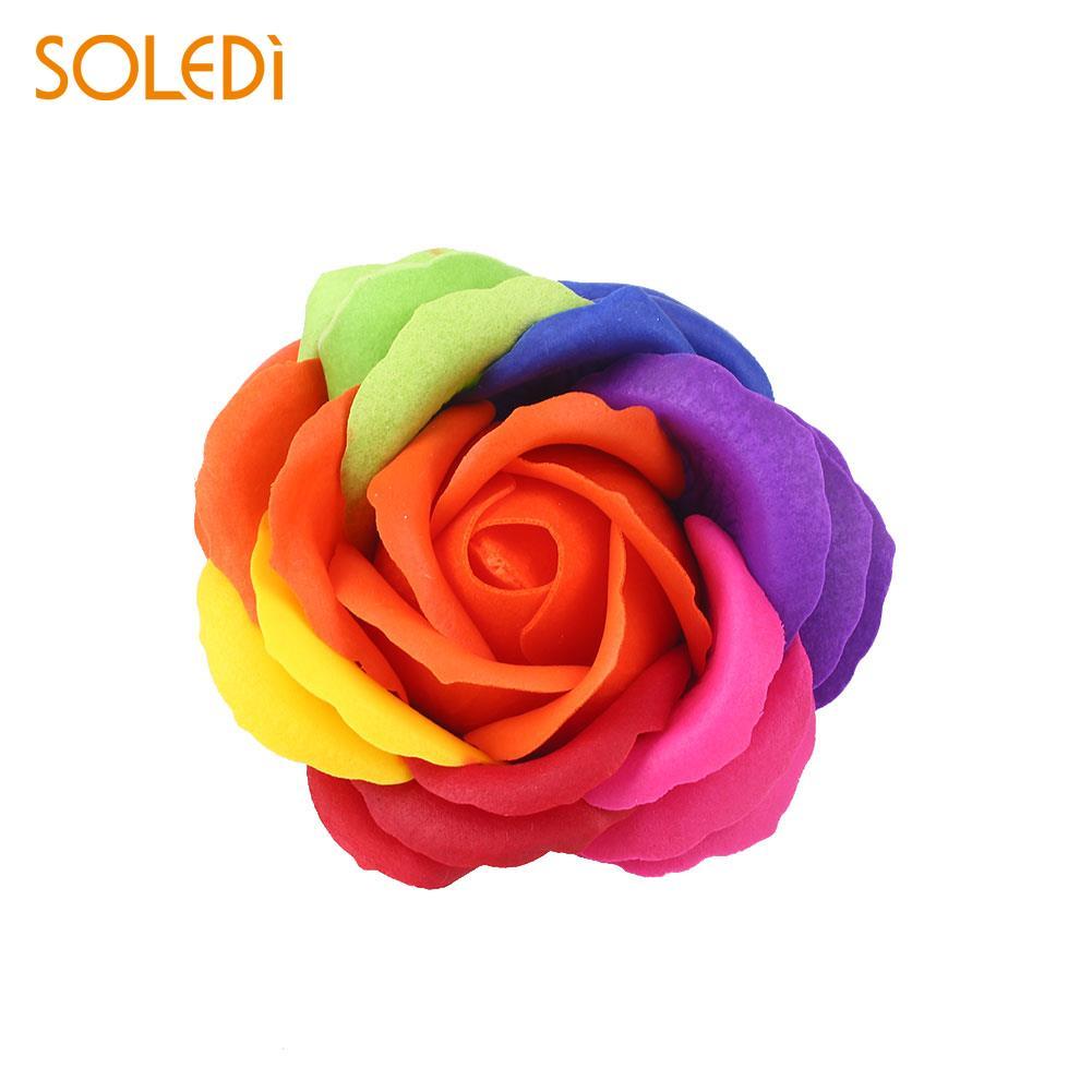 6 цветов, Подарочная коробка, искусственное Розовое Мыло, цветочный подарок, цветок, лепесток, День Святого Валентина, декор для отеля, вечерние, яркие, красивые - Цвет: orange