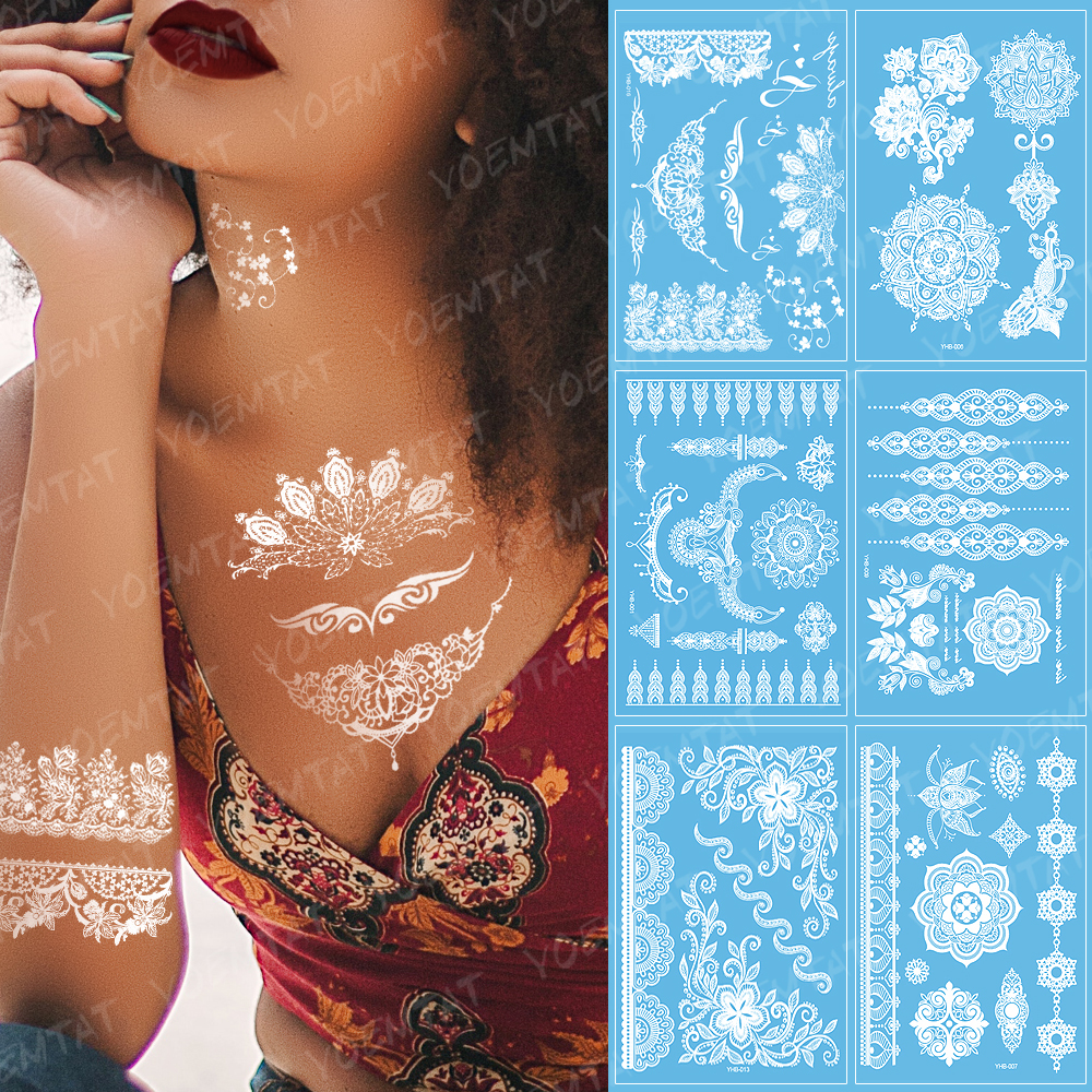 Indian Arabic White Lace Tattoo Sticker Necklace Flower Temporary Waterproof Tatoo Sticker Body Art Paint For Wedding Bride