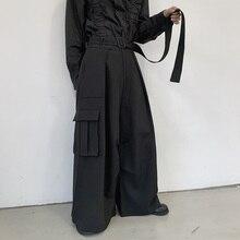 Overalls Yamamoto Baggy Leg-Pants Slacks Men's Pocket Three-Dimensional Belt Legs Trend