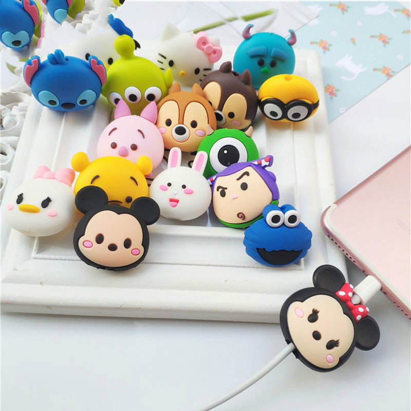 Cartoon Figure Cable Protector for IPhone Lightning Type C Micro USB TSUM Data Line Silicone Winder for Samsung Xiaomi Huawei-in Mobile Phone Straps from Cellphones & Telecommunications