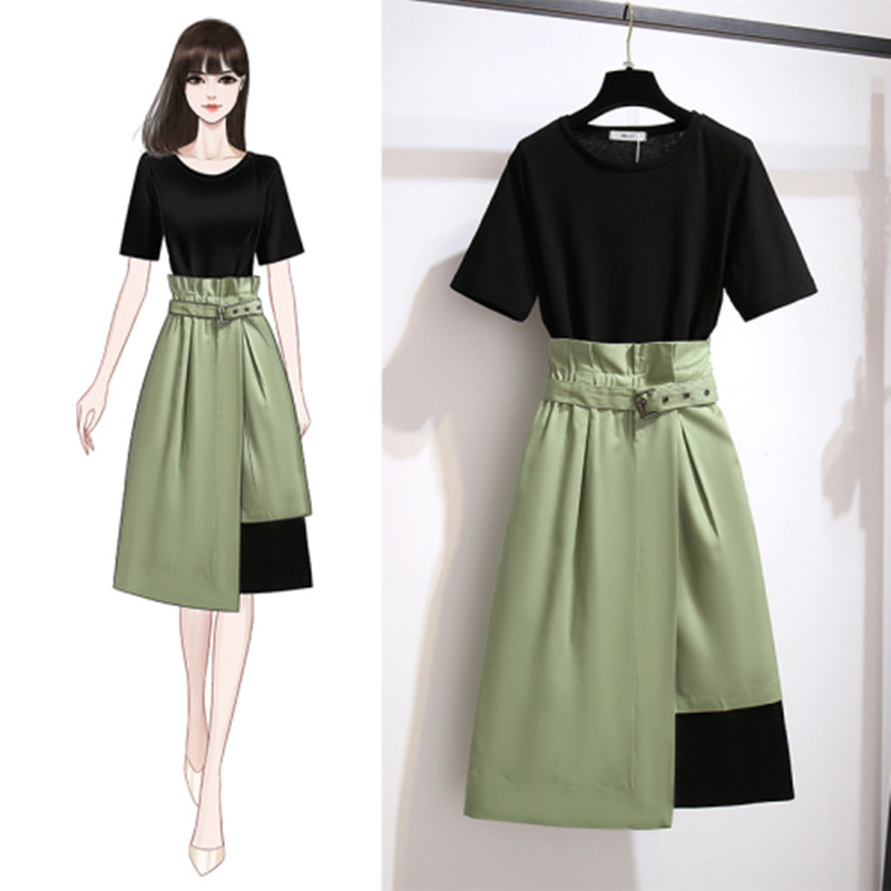 Simple Fashion Solid Color Suits Black Mid-length Cotton T-shirt Dresses And Fower Bud Split Irregular Skirt Two-piece Set Women