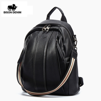 BISON DENIM Genuine Leather Backpacks For Women Fashion Female Sholder Bags Small Backpack Lady Casual Travel School Bags B1885 popular rock style natural sheepskin women backpack fashion rivets women s travel bags casual patchwork genuine leather bag