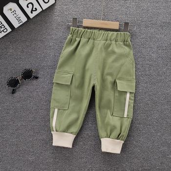 Nowa wiosna jesień maluch dzieci chłopięce ubrania jednokolorowe spodnie dorywczo dzieci chłopcy odzież kombinezony sportowe spodnie spodnie dla niemowląt tanie i dobre opinie BarbieRabbit COTTON Poliester CN (pochodzenie) Luźne NONE Pełnej długości Elastyczny pas Stałe Spodnie Cargo 8096-1