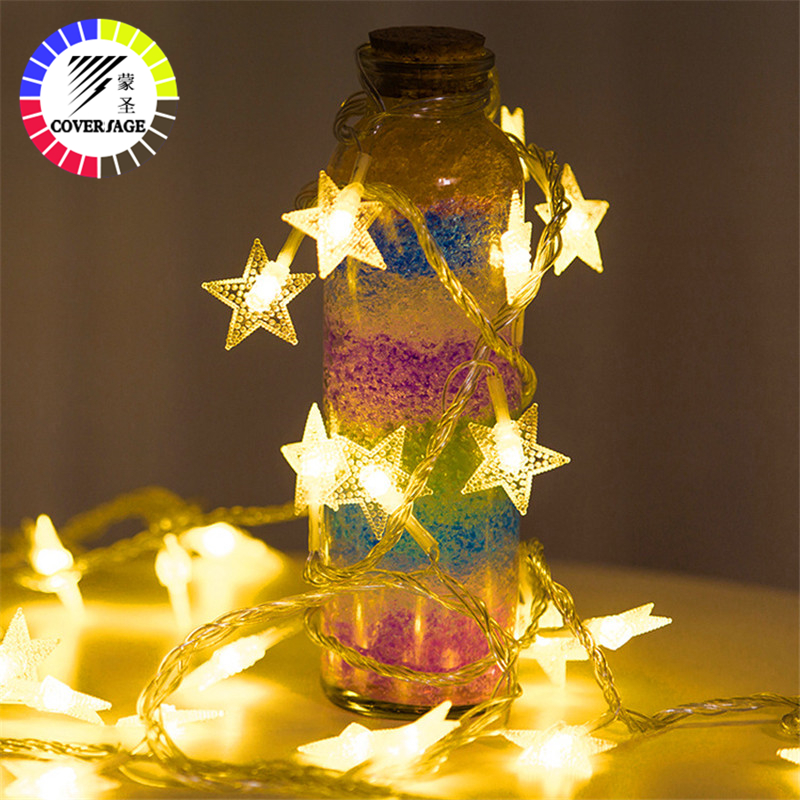 Coversage Star Christmas Fairy Led String Battery Lights Garden Luces Led Navidad Indoor Curtain String Decorative Lights