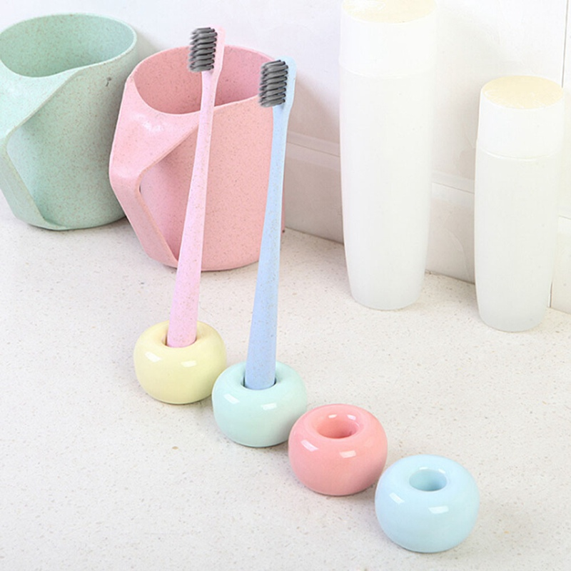 Donut Ceramic Toothbrush Holder Candy Color Multifunction Base Frame Storage Rack Bathroom Shower Tooth Brush Stand Shelf image
