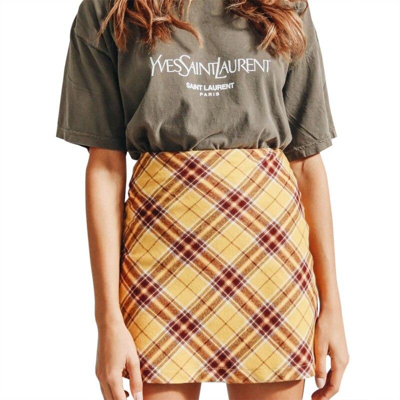 Fashion Plaid Zipper Autumn Women European And American Skirts High Waist Skirt Bag Hip Skirt Green Yellow 2XL Women