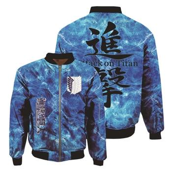 Anime Attack on Titan Hoodies 3D Printed Sweatshirts Thicken Bomber Jacket Men's Winter Flight Coat Adult Baseball Coat