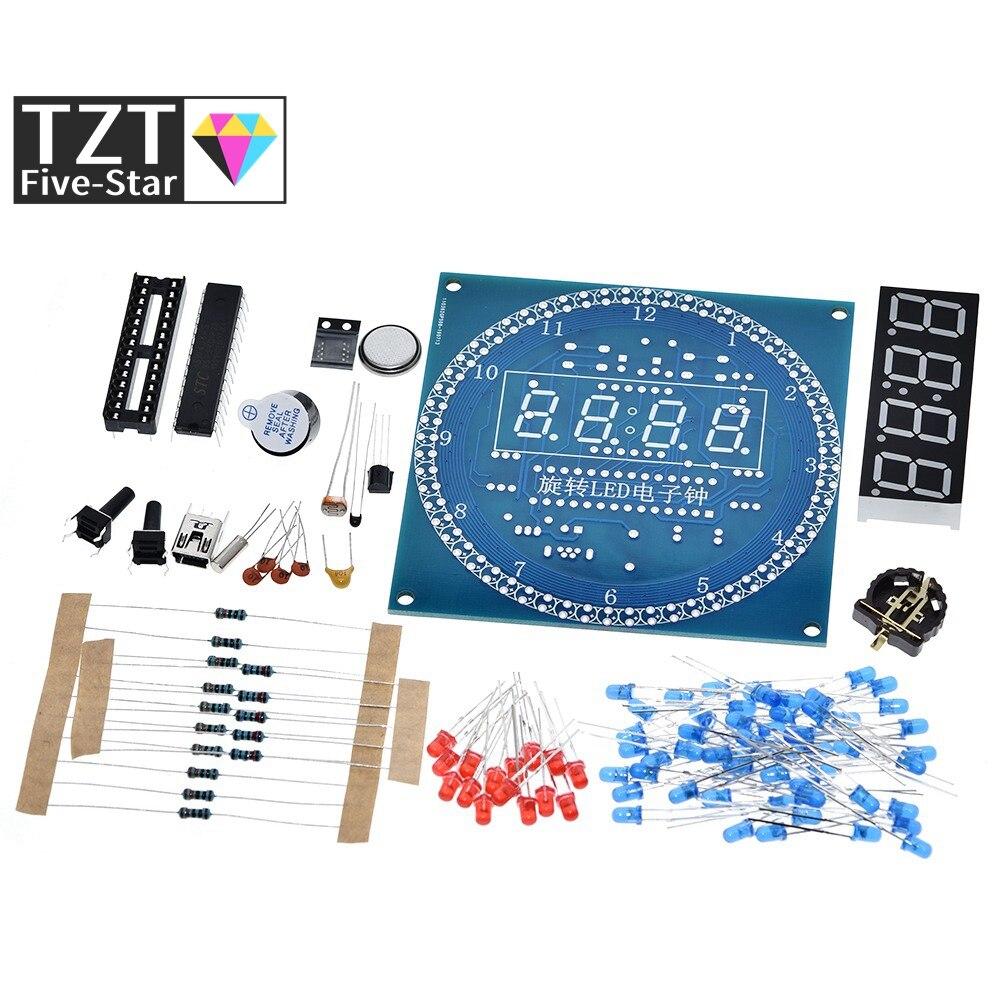 Вращающийся светодиодный дисплей DS1302, будильник, электронный модуль часов, комплект для самостоятельной сборки, светодиодный дисплей темп...