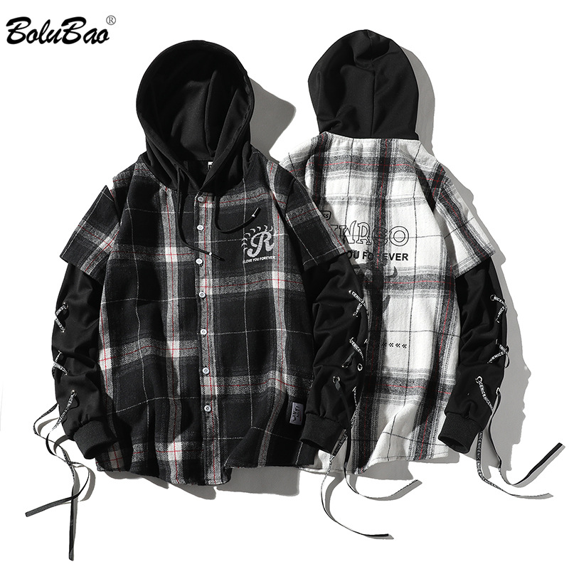 BOLUBAO New Men Plaid Shirt Tops Men's Trend Hooded Shirt Spring New Comfortable Casual Long Sleeve Shirts Male