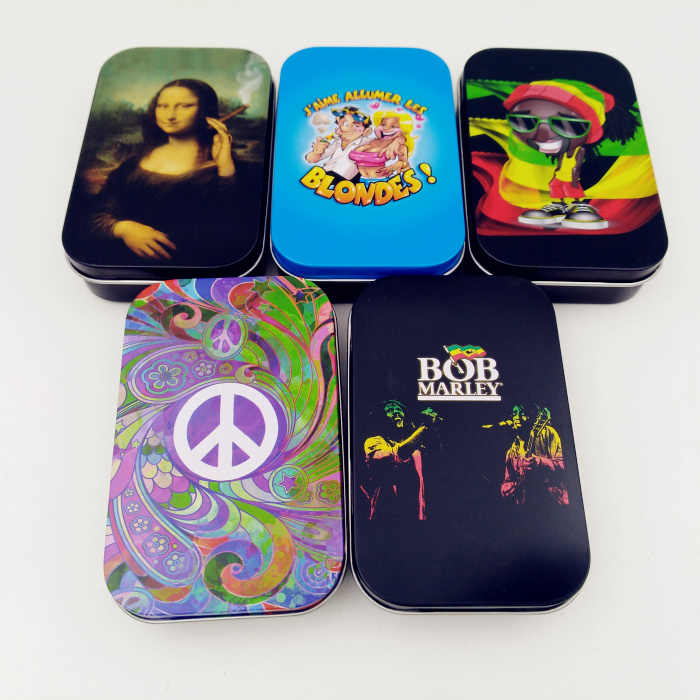 新 1 個ファッション錫の収納ボックスたばこ箱ヒュミドールローリング紙箱タバ送料無料 c585