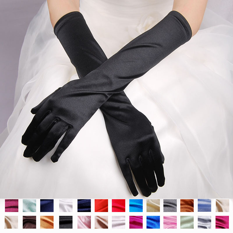 Bridal Gloves With Satin Show Evening Dresses Wedding Dresses Sunscreen Sleeve Wedding Accessories Free Shipping