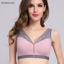 Funklouz Front Buckle Zipper Lace Bra Women Closure Push Up Sports Sleep Vest Bralette Lingerie