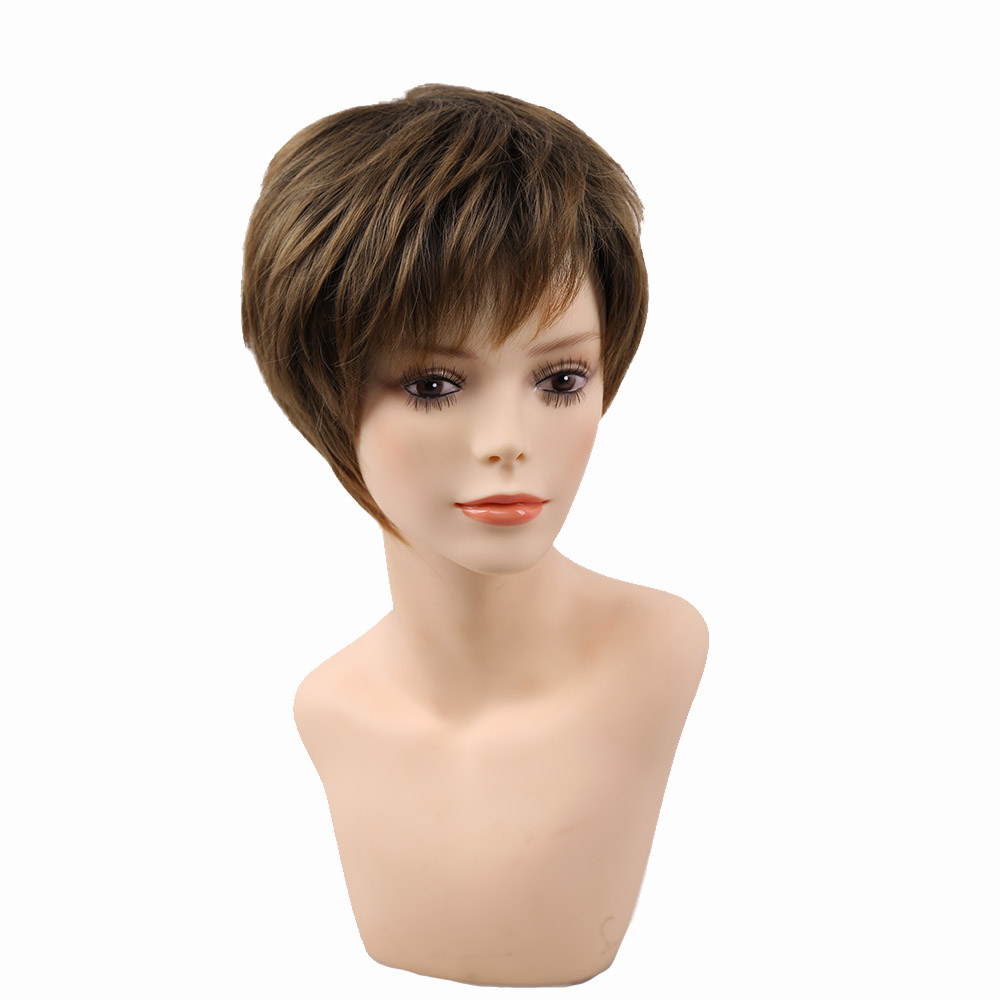 Amir Blonde Short Female Haircut Puffy Straight  Natural Short Synthetic Hair Wigs For American Africa Women