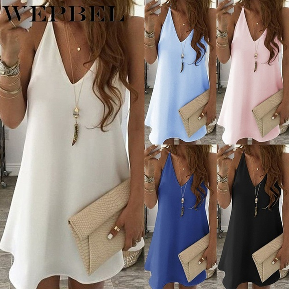 WEPBEL Women V-neck Style Mini Dress Sleeveless Pure Color Dress Beach Dress Casual Loose Dress