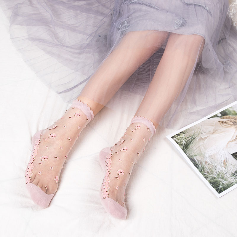 1 Pair Breathable Ultra Thin Socks Summer Women Transparent Lace Silk Crystal Rose Flower Girls Female Elastic Short Socks