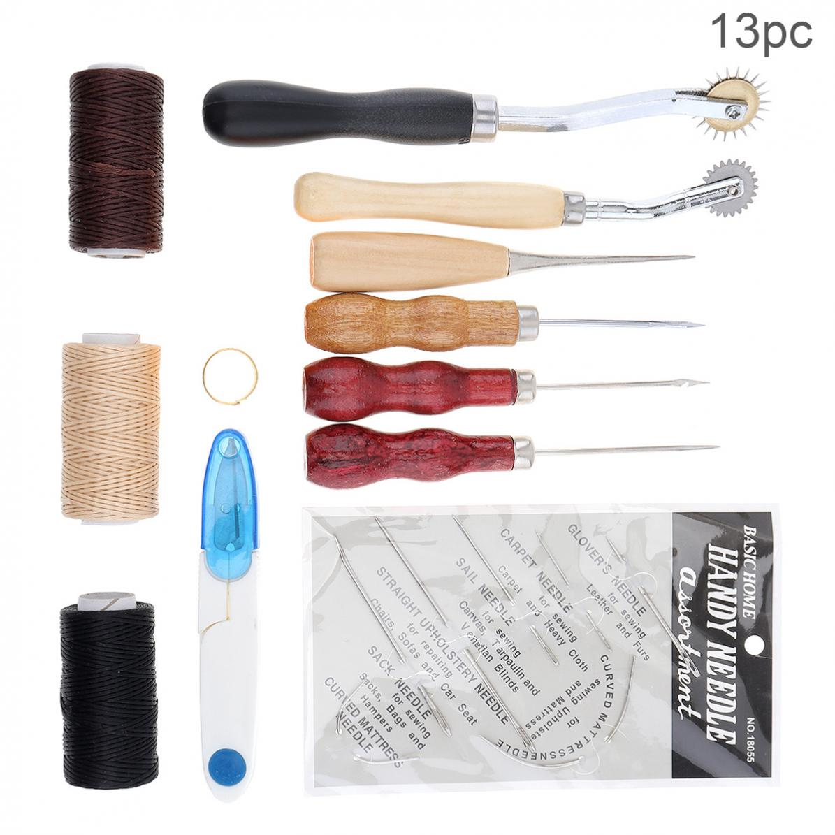 Professional 13pcs/set DIY Leather Craft Tools Kit Handmade Sewing Stitching Punch Carving Work Kit Set Saddle Groover Leather