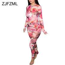 Floral Print Sexy Two Piece Tracksuit Women O Neck Long Sleeve T Shirt And Skinny Pant  Sweatsuit Autumn Winter Plus Size Outfit plus size ombre floral empire waist t shirt
