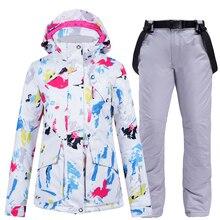 Зимний костюм, женские костюмы для сноуборда, куртка для сноуборда с брюками, Женская лыжная одежда, лыжная куртка и брюки, Лыжный жилет, Femme