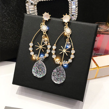 Crystal Long Temperament  dangle earrings bohemian chandelier baroque crystal drop jewelry