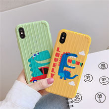 Cute cartoon dinosaur soft shell Luggage Suitcase Phone Case For iPhone X XS Max Xr 8 7 6 S Plus Candy colors Silicone Cover