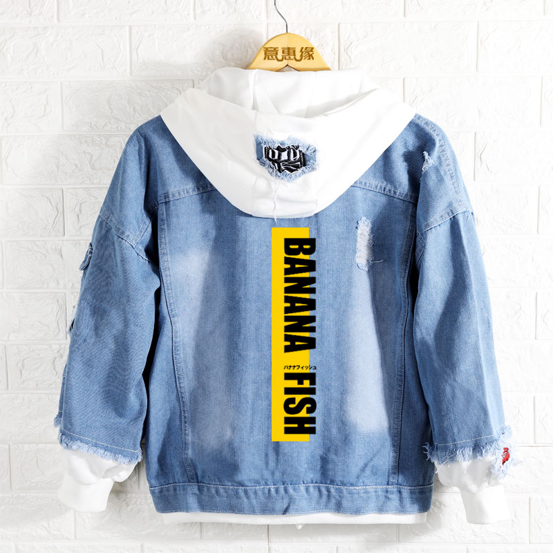 New Spring Banana Fish Hoodie Anime Aslan Jade Callenreese Jeans Coat Men Women Fashion Jacket