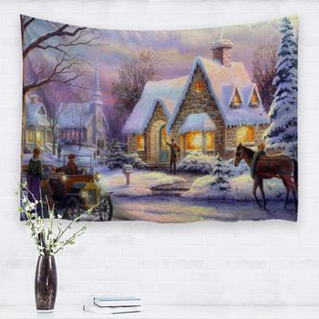 Christmas Tapestries Custom,Winter Snow Classic Scene for Living Room Bedroom Snow Night Market