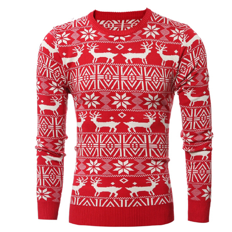 Oeak Christmas Men Autumn Winter Pullover Sweater Deer Printed Long Sleeve Thicken Warm O-Neck Sweaters Male Pull Femme Red