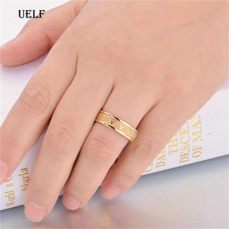 Uelf แบรนด์ตัวเลขโรมันแหวนแหวนสแตนเลสผู้หญิงผู้ชายสุภาพสตรีสีเงินสีดำสี Finger Bague