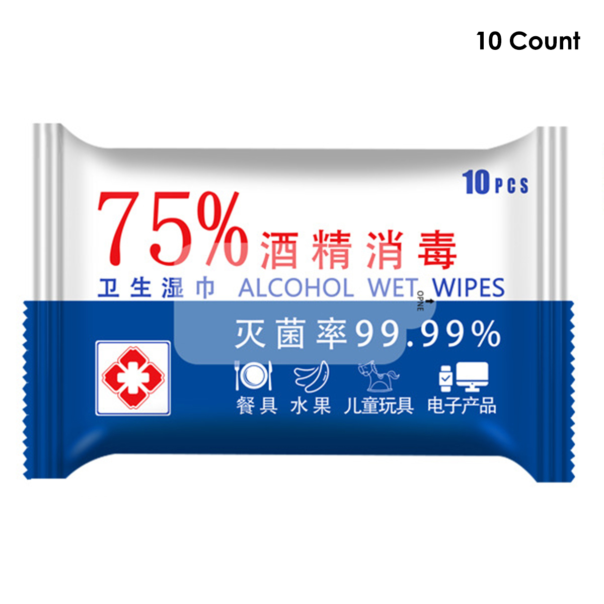 1 Pack Of Alcohol Wet Wipes Anti-Bacteria Mild Cleaning Sterilizing Wipes Non-Wovens Hands Wipes​​ Sterilize Disinfection
