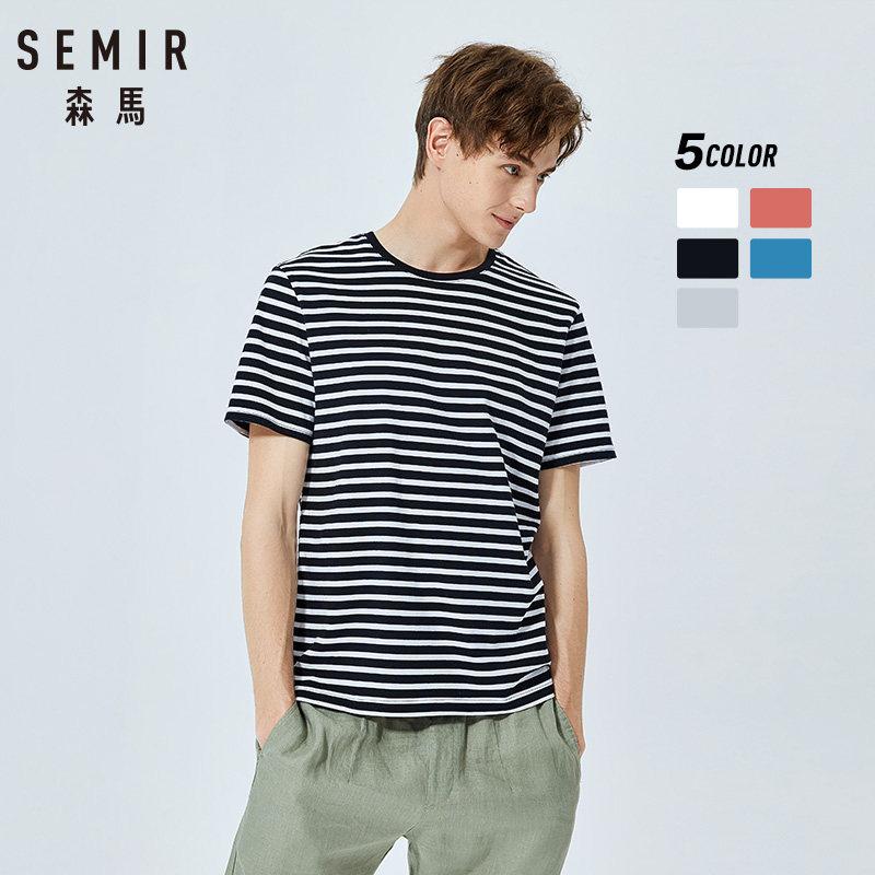 SEMIR Short Sleeve T Shirt Men Summer 2019 New Cotton Round Neck Korean Striped Sea Soul T-shirt Fashion Tops
