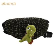 Women Woolen Fanny Waist Pack Cartoon Plush Dinosaur Messenger Shoulder Bag Women Waist Bag Phone Pouch Punk Belt Bag Purse(China)