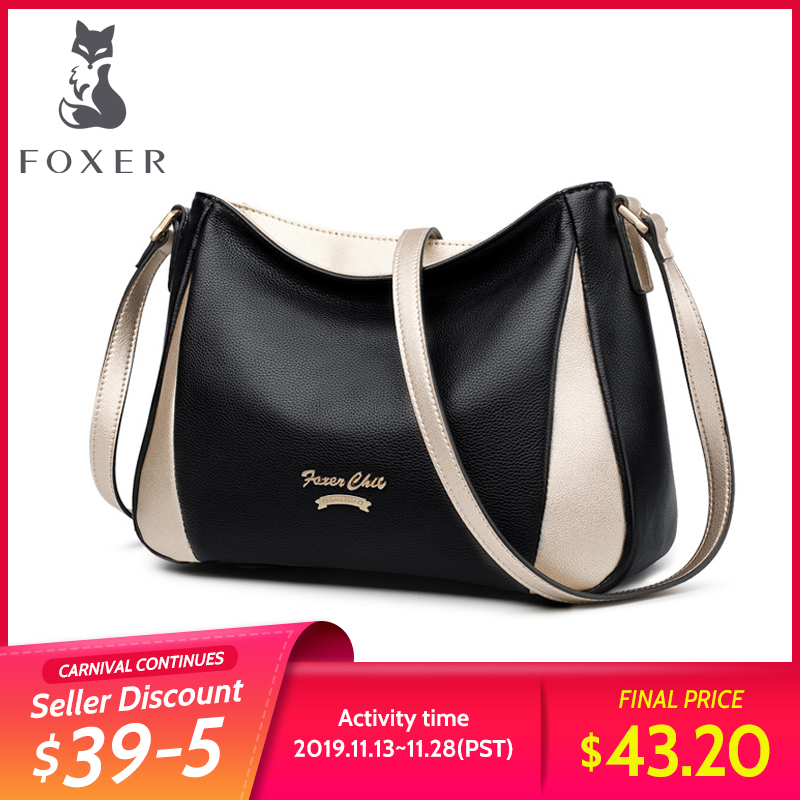 FOXER Brand Lady Shoulder Bag Soft Crossbody Bags Women's High Capacity Hobos Bag Purse Female Luxury Messenger Bag