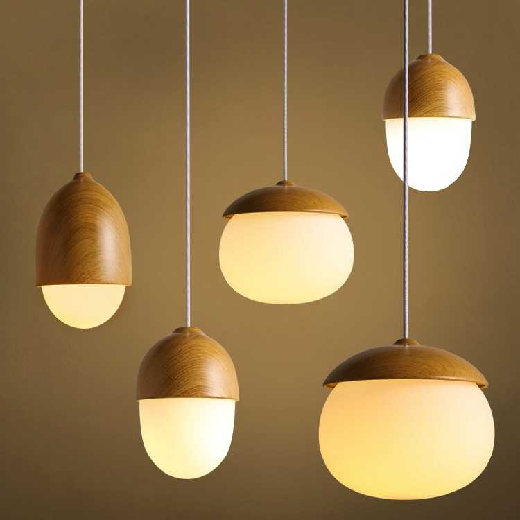 Noix gland petits champignons suspension lampe verre laiteux boule verre bois grain fer moderne suspension lampe led pin cône suspension