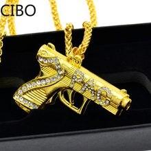 Colar pingente 2pac pistola, pingentes de hip hop com strass, colar de aço inoxidável, ouro e cor dourada, novo, 2019
