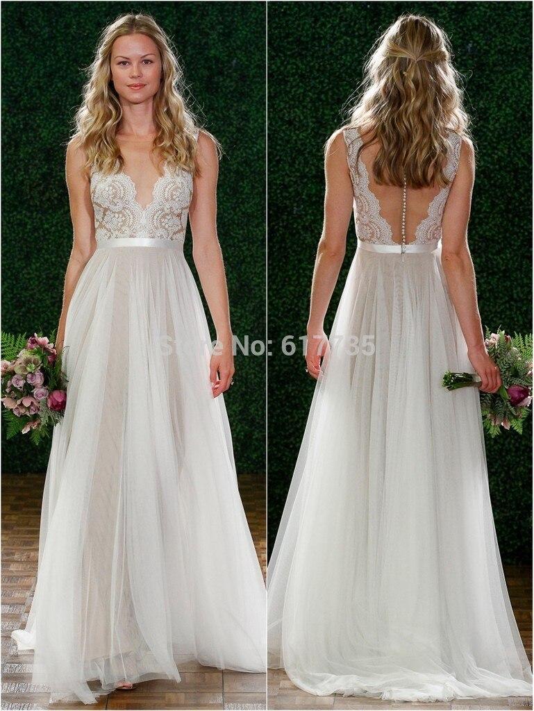 2019 Summer Deep V-Neck White Beach Wedding Dress Floor Length Tulle Lace Dresses Bride Custom Made Plus Size Free Shipping
