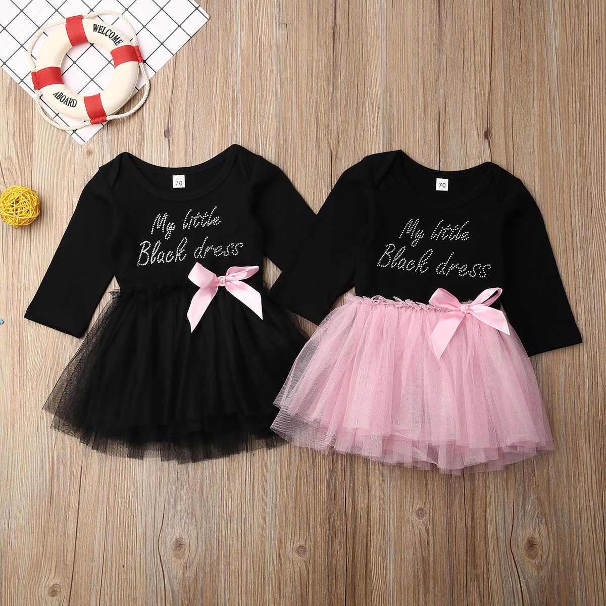 Moda Bebê Recém-nascido Meninas Vestido Longo Manga Princesa Rosa Letra Preta Tutu Festa Formal Vestidos A linha Outono 0- 18M