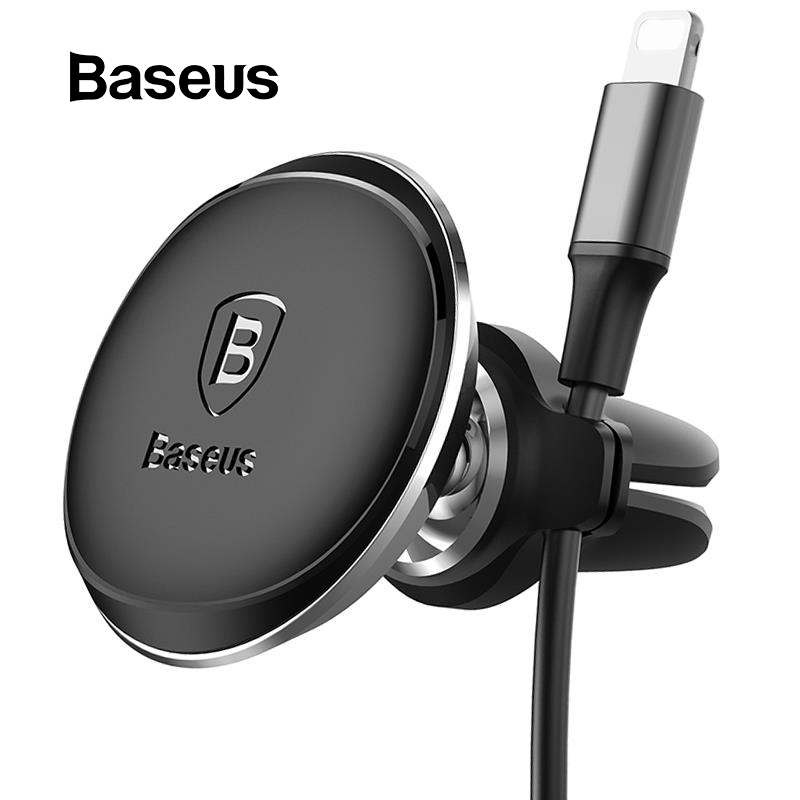 Baseus Magnetic Car Phone Holder 360 Rotation Air Vent Mount Mobile Phone Holder Stand With Cable Clip In Car For IPhone X 8 7